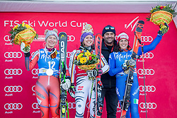 23.01.2018, Erta, Kronplatz, ITA, FIS Weltcup Ski Alpin, Riesenslalom, Damen, Siegerehrung, im Bild v.l: Ragnhild Mowinckel (NOR, 2. Platz), Siegerin Viktoria Rebensburg (GER), Alberto Tomba (ITA), Federica Brignone (ITA, 3. Platz) // f.l.: 2nd placed Ragnhild Mowinckel of Norway, Winner Viktoria Rebensburg of Germany, Alberto Tomba of Italy, 3rd placed Federica Brignone of Italy during the Winner Award Ceremony of ladie´s Giant Slalom of FIS ski alpine world cup in Kronplatz, Italy on 2018/01/23. EXPA Pictures © 2018, PhotoCredit: EXPA/ Dominik Angerer