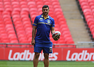 Bryson Goodwin of Warrington Wolves during the Warrington Wolves Captains Run ahead of the Ladbrokes Challenge Cup Final at Wembley Stadium, London<br /> Picture by Stephen Gaunt/Focus Images Ltd +447904 833202<br /> 24/08/2018