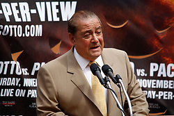 September 10, 2009; Bronx, NY; USA; Promoter Bob Arum speaks at the press conference at Yankee Stadium for the November 14, 2009 fight between Manny Pacquiao and Miguel Cotto.  The two will meet at the MGM Grand Garden Arena in Las Vegas, NV.