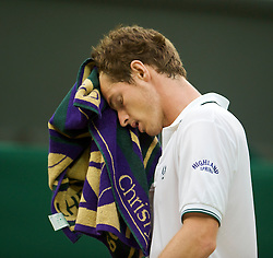 LONDON, ENGLAND - Monday, June 29, 2009: Andy Murray (GBR) looks dejected as he loses the opening set during the Gentlemen's Singles 4th Round match on day seven of the Wimbledon Lawn Tennis Championships at the All England Lawn Tennis and Croquet Club. (Pic by David Rawcliffe/Propaganda)