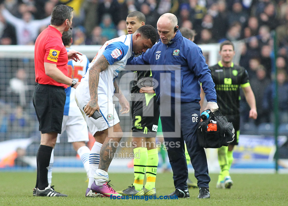 Picture by Michael Sedgwick/Focus Images Ltd +44 7900 363072.23/02/2013.Colin Kazim-Richards of Blackburn Rovers is helped off the pitch after injuring himself during the npower Championship match against Leeds United at Ewood Park, Blackburn.