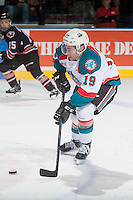 KELOWNA, CANADA - FEBRUARY 1: Dillon Dube #19 of the Kelowna Rockets skates with the puck against the Calgary Hitmen on February 1, 2017 at Prospera Place in Kelowna, British Columbia, Canada.  (Photo by Marissa Baecker/Shoot the Breeze)  *** Local Caption ***