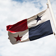 The Panamanian national flag flying in the wind.