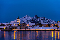 Twilight view, Svolvaer, Lofoten Islands, Arctic, Northern Norway.