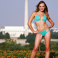 Sexy patrotic woman in bikini and Washington DC skyline, Washington DC, USA