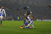 Football - 2018 / 2019 Premier League - Brighton and Hove Albion vs. Leicester City<br /> <br /> Beram Kayal of Brighton dives in to concede a penalty on Kelechi Iheanacho of Leicester City at The Amex Stadium Brighton <br /> <br /> COLORSPORT/SHAUN BOGGUST