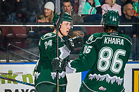 KELOWNA, BC - FEBRUARY 15: Gianni Fairbrother #24 and Artyom Minulin #5 of the Everett Silvertips celebrate a goal against the Kelowna Rockets  at Prospera Place on February 15, 2019 in Kelowna, Canada. (Photo by Marissa Baecker/Getty Images)