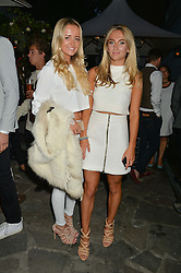Left to right, LILY LUDOVICI GRAY and TIFFANY WATSON at a reception hosted by Tiffany Watson in aid of The Eve Appeal held at The Phene, 9 Phene Street, London on 8th September 2015.