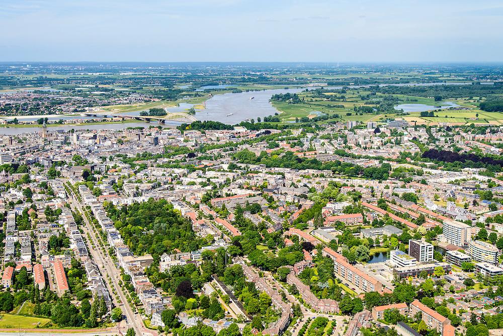 Nederland, Gelderland, Nijmegen, 09-06-2016; overzicht met binnenstad Nijmegen en rivier de Waal. Sint Annastraat.<br /> <br /> Town of Nijmegen, inner city.<br /> luchtfoto (toeslag op standard tarieven);<br /> aerial photo (additional fee required);<br /> copyright foto/photo Siebe Swart