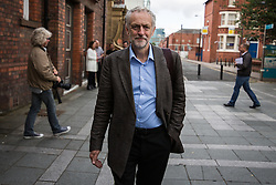 © Licensed to London News Pictures . 25/07/2015 . Warrington , UK . JEREMY CORBYN arrives at the Labour Party leadership hustings at Parr Hall in Warrington . Photo credit : Joel Goodman/LNP