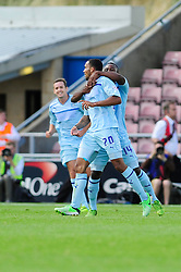 Coventry City's Callum Wilson celebrates his goal which puts Coventry City 2-0 up - Photo mandatory by-line: Dougie Allward/JMP - Tel: Mobile: 07966 386802 11/08/2013 - SPORT - FOOTBALL - Sixfields Stadium - Sixfields Stadium -  Coventry V Bristol City - Sky Bet League One