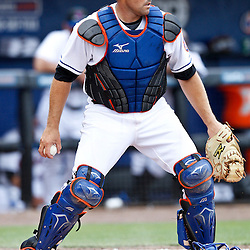 March 6, 2011; Port St. Lucie, FL, USA; New York Mets catcher Mike Nickeas (13) during a spring training exhibition game against the New York Mets at Digital Domain Park. The Mets defeated the Red Sox 6-5.  Mandatory Credit: Derick E. Hingle