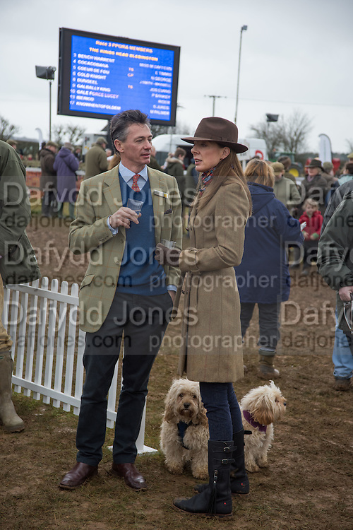 NICK RUDGE; DONNA MONAGHAN; DOGS; RALPH; DAPHNE, The Heythrop Hunt Point to Point. Cocklebarrow. 24 January 2016