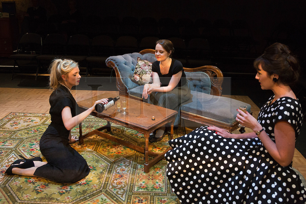 © Licensed to London News Pictures. 02/09/2015. London, UK. L-R: Diana Vickers, Vicky Binns and Danielle Flett. World premiere of Hatched 'n' Dispatched, a black comedy set on one evening in 1959, opens at the Park Theatre in Finsbury Park. Written by Gemma Page & Michael Kirk, directed by Michael Kirk, the comedy stars Wendi Peters, Diana Vickers and Vicky Binns. Running from 1 to 26 September 2016. Photo credit : Bettina Strenske/LNP