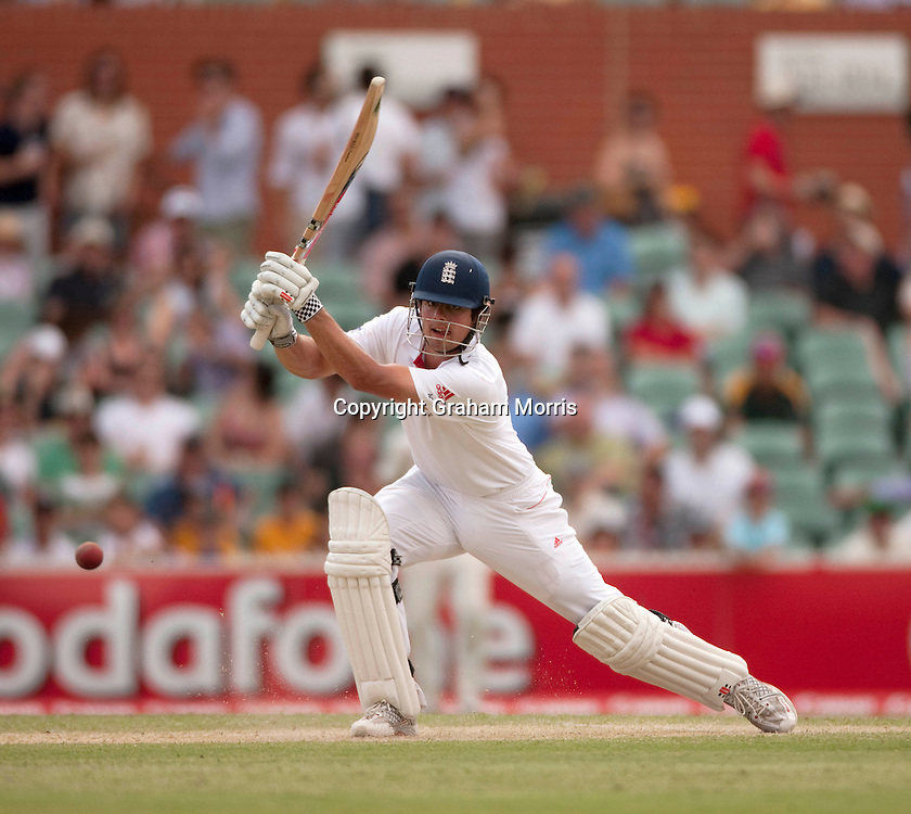 Alastair Cook bats during his century in the second Ashes Test Match between Australia and England at the Adelaide Oval. Photo: Graham Morris (Tel: +44(0)20 8969 4192 Email: sales@cricketpix.com) 4/12/10