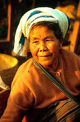BURMA SHAN STATE TAUNGGYI MAR95 - A tribal woman sits in front of some baskets at the weekly Taunggyi tribal market. .. jre/Photo by Jiri Rezac. . © Jiri Rezac 1995. . Contact: +44 (0) 7050 110 417. Mobile: +44 (0) 7801 337 683. Office: +44 (0) 20 8968 9635. . Email: jiri@jirirezac.com. Web: www.jirirezac.com