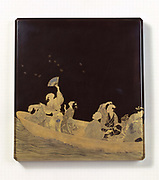 Group of men and women in a boat watching a flight of butterflies. Lacquered pencil block decorated in gold blue and red. 19th century