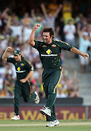 Ben Hilfenhaus celebrates the wicket of Ross Taylor during the 3rd one day international cricket match, New Zealand Black Caps v Australia, Chappell Hadlee Series at the SCG, Australia, 8 February 2009..Photo: Andrew Cornaga/PHOTOSPORT