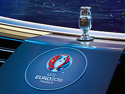 PARIS, FRANCE - Saturday, December 12, 2015: The Henri Delaunay Trophy, the prize for Euro 2016, during the draw for the UEFA Euro 2016 Championship at Le Palais des Congrès de Paris. (Pic by David Rawcliffe/Propaganda)