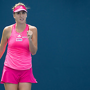 August 16, 2014, New Haven, CT:<br /> Belinda Bencic reacts during a match against Barbora Zahlavova-Strycova on day four of the 2014 Connecticut Open at the Yale University Tennis Center in New Haven, Connecticut Monday, August 18, 2014.<br /> (Photo by Billie Weiss/Connecticut Open)