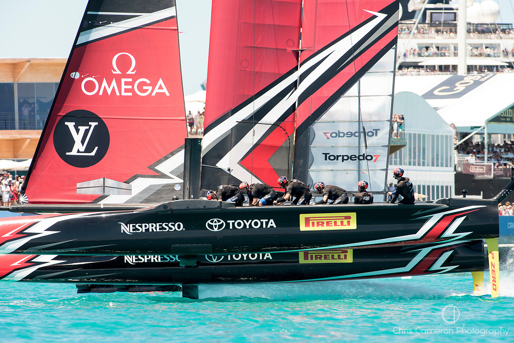 The Great Sound, Bermuda, 25th June 2017. Emirates Team New Zealand win Race seven. Day four of racing in the America's Cup presented by Louis Vuitton.
