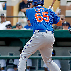 March 14, 2012; Lakeland, FL, USA; New York Mets third baseman Zach Lutz (65) against the Detroit Tigers during a spring training game at Joker Marchant Stadium. Mandatory Credit: Derick E. Hingle-US PRESSWIRE