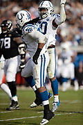 Indianapolis Colts defensive tackle Denico Autry (96) celebrates with Indianapolis Colts middle linebacker Anthony Walker (50) after Autry sacks Jacksonville Jaguars quarterback Cody Kessler (6) for a third quarter loss of 8 yards to the Jaguars 27 yard line during the NFL week 13 regular season football game against the Jacksonville Jaguars on Sunday, Dec. 2, 2018 in Jacksonville, Fla. The Jaguars won the game in a 6-0 shutout. (©Paul Anthony Spinelli)