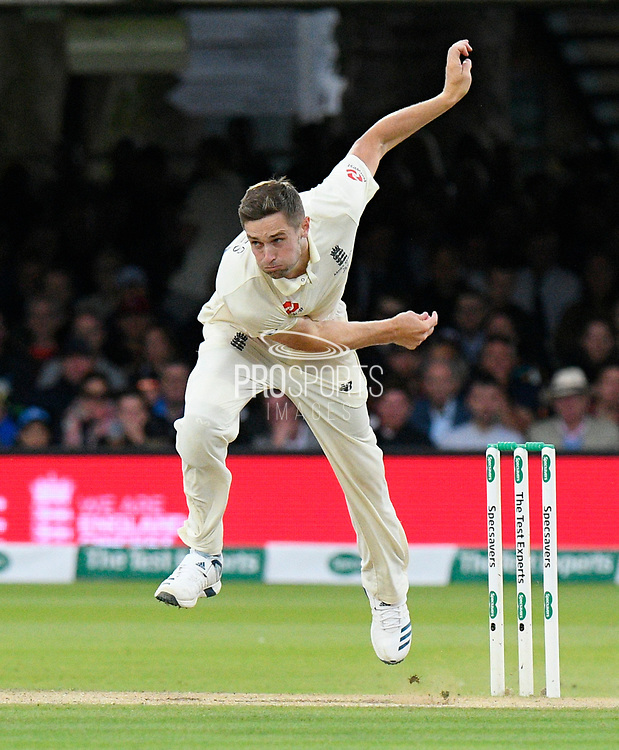 Chris Woakes of England bowling during the International Test Match 2019 match between England and Australia at Lord's Cricket Ground, St John's Wood, United Kingdom on 18 August 2019.