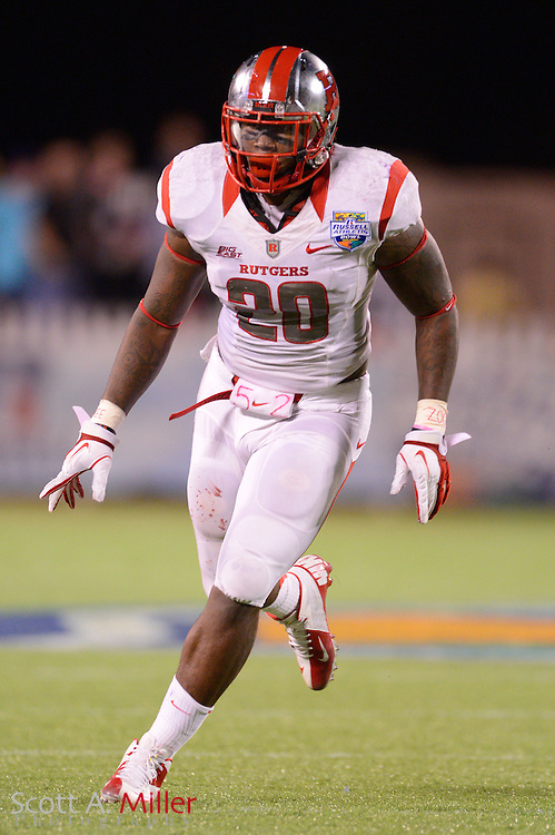 Rutgers Scarlet Knights linebacker Khaseem Greene (20) during Rutgers 13-10 overtime loss to the Virginia Tech Hokies in the Russell Athletic Bowl on Dec 28, 2012 in Orlando, Florida. ..©2012 Scott A. Miller..