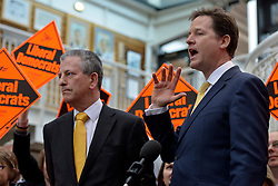 © Licensed to London News Pictures. 01/03/2013. Eastleigh, UK Liberal Democrat leader and Deputy Prime Minister Nick Clegg (right) meets with Mike Thornton MP the morning after his by-election victory in Eastleigh today 1st March 2013. The voters of Eastleigh voted  in a by-election prompted by the resignation of former Lib Dem cabinet minister Chris Huhne. Photo credit : Stephen Simpson/LNP