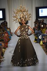 August 18, 2017 - Toronto, Ontario, Canada - A model showcasing  clothes of designer  ''John Ablaza'' during the African Fashion Week in Toronto, Canada on 18 August 2017. (Credit Image: © Arindam Shivaani/NurPhoto via ZUMA Press)