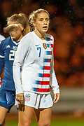 Abby Dahlkemper (#7) (NC Courage) of the USA during the Women's International Friendly match between Scotland Women and USA at the Simple Digital Arena, Paisley, Scotland on 13 November 2018.