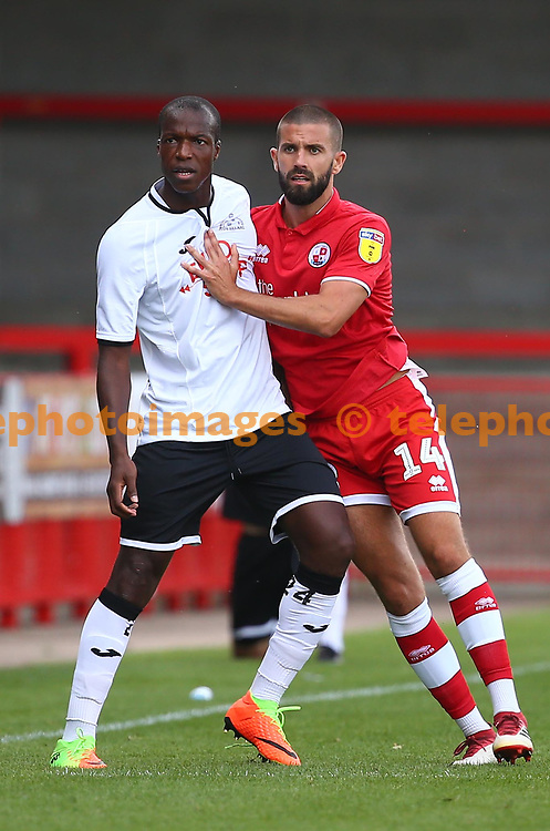 Crawley's George Francomb during the pre season friendly between Crawley Town and KSV Roeselare at The Broadfield Stadium, Crawley , UK. 28 July 2018.