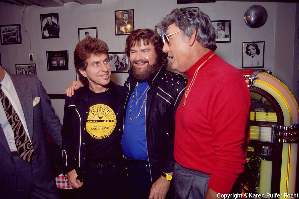 Singer Johnny Rivers with Sun Studio founder Sam Phillips and Carl Perkins at Sun Studio in the early 90's. © Karen Pulfer Focht-ALL RIGHTS RESERVED-NOT FOR USE WITHOUT WRITTEN PERMISSION