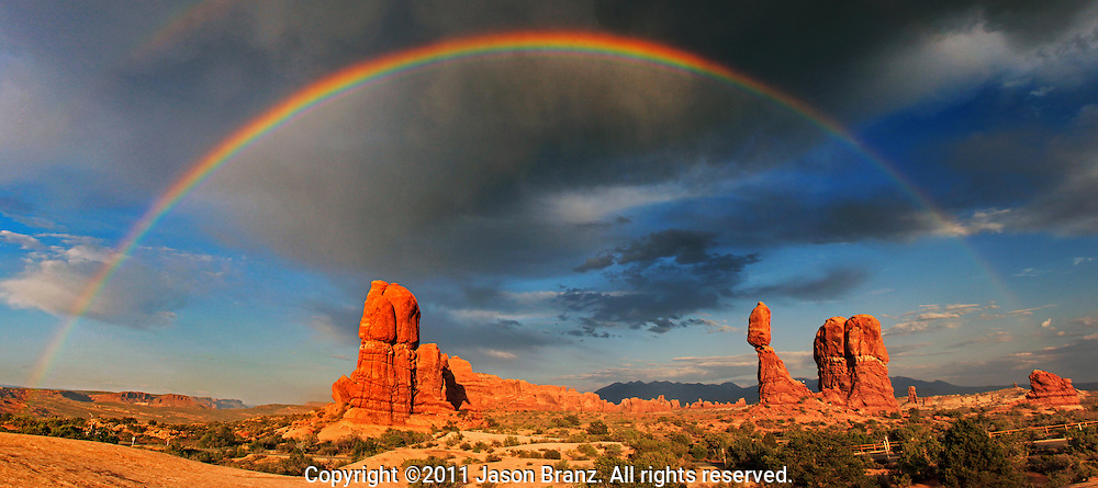 Rainbow over Balanced Rock in Arches National Park, Utah.