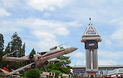 Red 5 X-wing Star wars fighter at Eurodisney