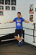 Picture by Alan Stanford/Focus Images Ltd +44 7915 056117<br /> 30/09/2013<br /> Darren Baker resting before his workout at Gator ABC, Hainault, Essex..