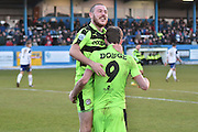 Forest Green Rovers Christian Doidge(9) and Forest Green Rovers Liam Noble(15) during the Vanarama National League match between Barrow and Forest Green Rovers at Holker Street, Barrow, United Kingdom on 28 January 2017. Photo by Mark Pollitt.
