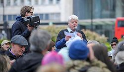 Stanley Johnston speaks to the people gathered for the demonstration.<br /> <br /> The Born Free Foundation held a demo in central London to protest trophy hunting. The group marched from Cavendish Square to Downing street where a letter was handed over.<br /> <br /> Richard Hancox | EEm 13042019