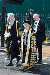 © Licensed to London News Pictures. 01/10/2019. London, UK. BARONESS HALE of RICHMOND, President of the Supreme Court (C) leave Westminster Abbey with other Judges, QCs and senior legal figures for The Houses of Parliament after attending the annual service to mark the start of the legal year. The start of the new legal year is marked with a traditional religious service in Westminster Abbey followed by a procession to The Houses of Parliament where the Lord Chancellor (Justice Secretary) hosts a reception.   Photo credit: Dinendra Haria/LNP