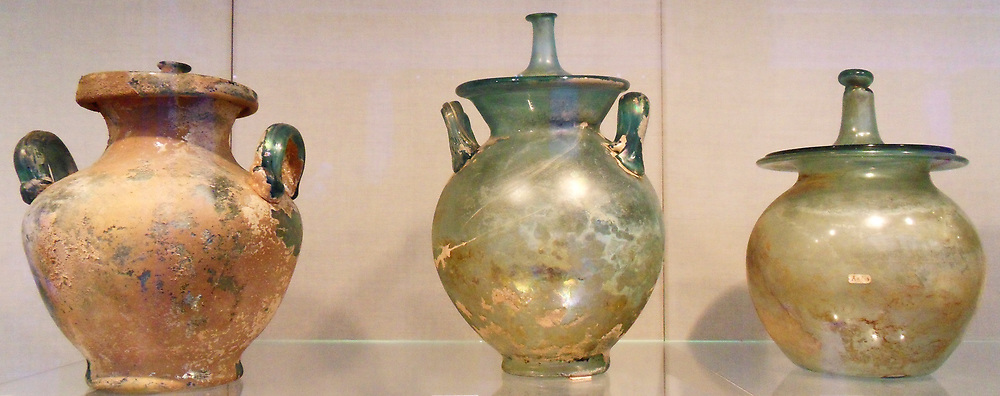 Glass cinerary urns with lid. Roman 1st century A.D.