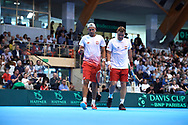 Sopot, Poland - 2018 April 08: (L) Lukasz Kubot and Marcin Matkowski both from Poland celebrate their winning point while Men's Double Match Nr 3 during Poland v Zimbabwe Tie Group 2, Europe/Africa Second Round of Davis Cup by BNP Paribas at 100 years of Sopot Hall on April 08, 2018 in Sopot, Poland.<br /> <br /> Mandatory credit:<br /> Photo by © Adam Nurkiewicz / Mediasport<br /> <br /> Adam Nurkiewicz declares that he has no rights to the image of people at the photographs of his authorship.<br /> <br /> Picture also available in RAW (NEF) or TIFF format on special request.<br /> <br /> Any editorial, commercial or promotional use requires written permission from the author of image.