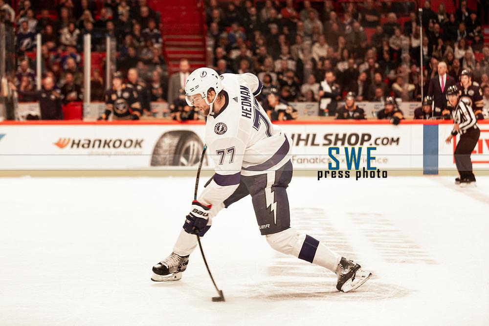 2019-11-08 | Stockholm, Sweden : Tampas Victor Hedman during the NHL Global series at Globe Arena (Photo by : Daniel Carlstedt | Swe Press Photo