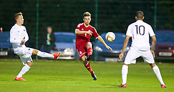 NEWPORT, WALES - Thursday, September 25, 2014: Wales' Liam Angel in action against France during the Under-16's International Friendly match at Dragon Park. (Pic by David Rawcliffe/Propaganda)