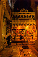 Church of the Holy Sepulchre (site of the last five stations of the Cross and venerated as the place where Jesus was crucified and buried), the Christian Quarter, Old City, Jerusalem, Israel.