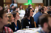 Rachel Gardella reacts to the presentors at the 3rd Annual Robert L. Foehl Ethical Leadership Case Competiton.