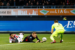(L-R)  Darryl Lachman of Willem II, Mike van Duinen of Excelsior, goalkeeper Timon Wellenreuther of Willem II during the Dutch Eredivisie match between sbv Excelsior Rotterdam and Willem II Tilburg at Van Donge & De Roo stadium on April 06, 2018 in Rotterdam, The Netherlands