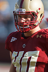 November 20, 2010; Chestnut Hill, MA, USA;  Boston College Eagles linebacker Luke Kuechly (40) warms up before the game against the Virginia Cavaliers at Alumni Stadium.  Boston College defeated Virginia 17-13.