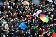 Bangladesh fans gathered under the player balcony in a boisterous moon as the rain continues to fall during the ICC Cricket World Cup 2019 match between Bangladesh and Sri Lanka at the Bristol County Ground, Bristol, United Kingdom on 11 June 2019.ladesh and Sri Lanka at the Bristol County Ground, Bristol, United Kingdom on 11 June 2019.