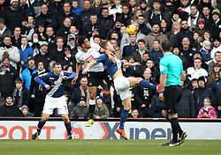 Nick Blackman of Derby County wins a header against Michael Morrison of Birmingham City- Mandatory byline: Robbie Stephenson/JMP - 16/01/2016 - FOOTBALL - iPro Stadium - Derby, England - Derby County v Birmingham City - Sky Bet Championship